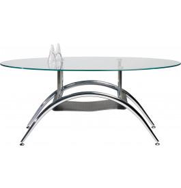 5766 - Table basse ovale plateau verre pied chromé