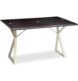 5792 - Table console pliante frêne pied métal champagne