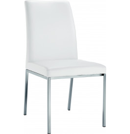 5803 - Chaises design blanches pied inox (x2)