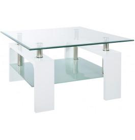 5816 - Table basse carrée métal verre trempé blanche