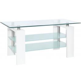5817 - Meuble TV design métal et verre trempé blanc
