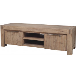 Banc TV 2 portes 2 niches acacia massif gris