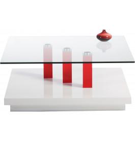 5833 - Table basse carrée base blanche plateau verre