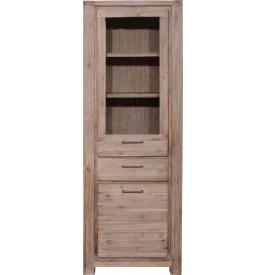 5875 - Vitrine 2 portes 1 tiroir acacia massif blanchi