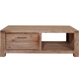 5876 - Table basse 2 tiroirs acacia massif blanchi