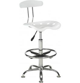 5910 - Chaises de bar blanches hauteur réglable (x2)