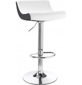 5973 - Chaise de bar métal chromé bicolore blanc-noir