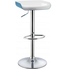 5975 - Tabouret de bar métal chromé bicolore blanc-bleu