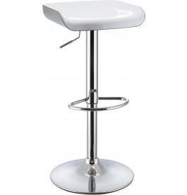 5976 - Tabouret de bar métal chromé bicolore blanc-gris