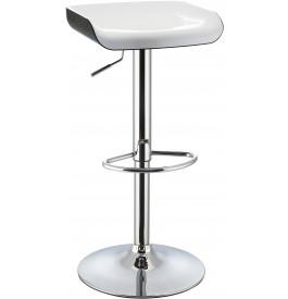 5977 - Tabouret de bar métal chromé bicolore blanc-noir