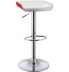 5978 - Tabouret de bar métal chromé bicolore blanc-rouge