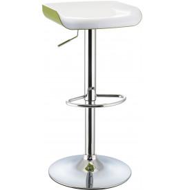 5979 - Tabouret de bar métal chromé bicolore blanc-vert