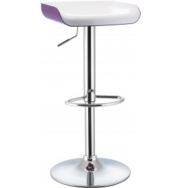 5980 - Tabouret de bar métal chromé bicolore blanc-violet