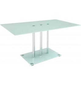 5984 - Table design métal chromé verre sérigraphié blanc