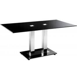 5987 - Table design acier et verre noir