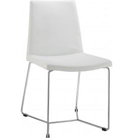 5995 - Chaises blanches pieds croisés métal chromé dossier continu (x4)