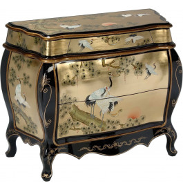 Commode galbée chinoise laque d'or