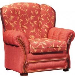 Fauteuil Royal  tissu rouge motif végétal