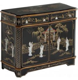 meuble de rangement chinois laque noire 2 portes 2 tiroirs meuble chinois style. Black Bedroom Furniture Sets. Home Design Ideas