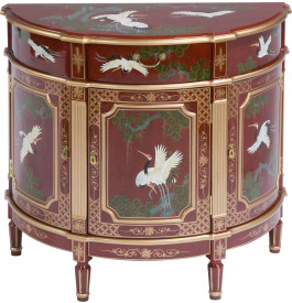 Commode chinoise rouge demi-lune
