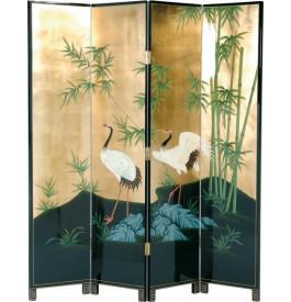 7455 - Paravent chinois laque d'or décor oiseaux