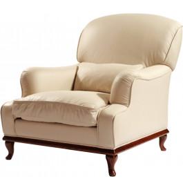 7627 - Fauteuil cuir beige crème pieds cambrés Pénélope