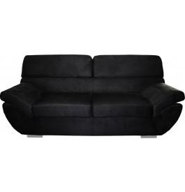 8157 - Canapé 3 places microfibre pieds chromés noir