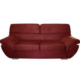 8158 - Canapé 3 places microfibre pieds chromés rouge