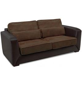 8196 - Canapé 2 places simili cuir brun et microfibre chocolat Michigan
