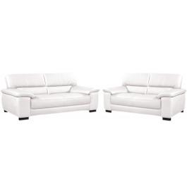 8229 - Salon classique cuir blanc 2 + 3 places