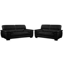 8235 - Salon classique cuir noir 2 + 3 places