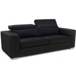 8311 - Canapé 2 places noir coussin appui-tête réglables