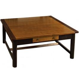 8361 - Table basse carrée merisier 1 tiroir