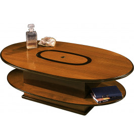 8376 - Table basse bar coffre ovale merisier
