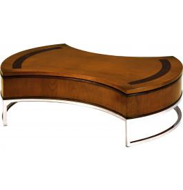 8476 - Table basse bar ovale merisier plateau pivotant