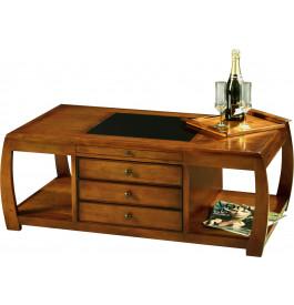 8489 - Table basse de jeu merisier 3 tiroirs 2 tirettes verre noir