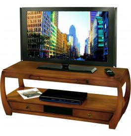 8492 - Banc TV-Hifi merisier 1 tiroir verre noir incrusté