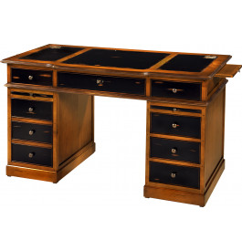 8493 - Bureau merisier 4 tiroirs 4 tirettes 1 porte laqué noir