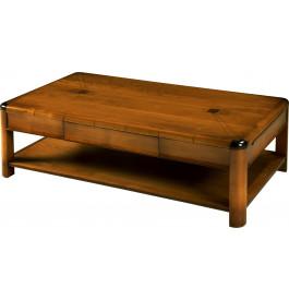 8503 - Table basse de jeu merisier 2 tiroirs 2 tirettes