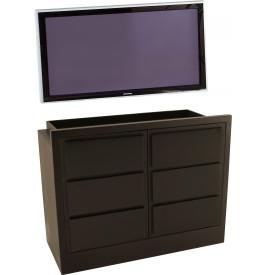 Meuble TV - Hifi LCD Plasma teinte wengé 2 portes laque noire