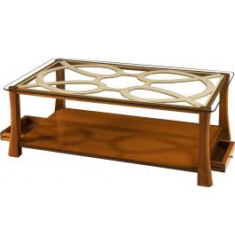 Table basse double plateau merisier et verre 2 tiroirs