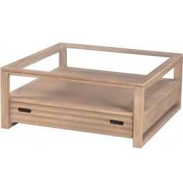 8649 - Table basse carrée frêne plateau verre
