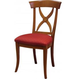 8765 - Chaises merisier dossier croisillon assise tissu (x2)