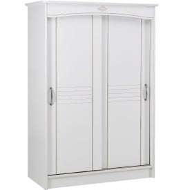 armoire blanche 2 portes coulissantes l130. Black Bedroom Furniture Sets. Home Design Ideas