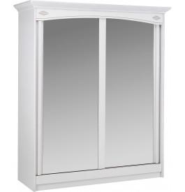 9043 - Armoire blanche 2 portes coulissantes à glaces L180