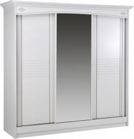9049 - Armoire blanche 3 portes coulissantes à glace centrale