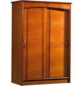 9099 - Armoire merisier 2 portes coulissantes L130