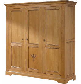 Armoire chêne doré 3 portes à glace centrale sculptée
