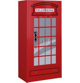 enfant cabine téléphonique rouge 2 portes 1 tiroir