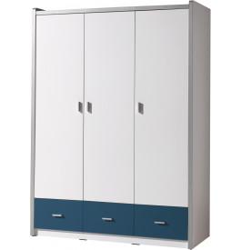 armoire enfant laqu blanc et bleu 3 portes 3 tiroirs. Black Bedroom Furniture Sets. Home Design Ideas